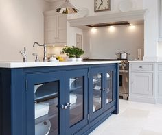 Built in fan/housing over cooker Blue Painted Kitchen - Bespoke Kitchens - Tom Howley Bespoke Kitchens, Luxury Kitchens, Cool Kitchens, Luxury Kitchen Design, Best Kitchen Designs, Living Room Kitchen, New Kitchen, Kitchen Interior, Kitchen Decor