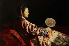 Reclining Court Lady By the artist ~ Jiang Guo Fang.