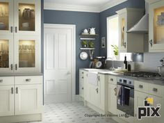 Have you ever try one of Cooke and Lewis kitchens? Well, there are various opinions from those who have tried their kitchen design. Paint For Kitchen Walls, Kitchen Cabinet Doors, Ivory Kitchen, Kitchen Cabinets, Blue Kitchen Walls, Kitchen And Bath Design, Kitchen Room, Kitchen Wall Colors, Heritage Kitchen
