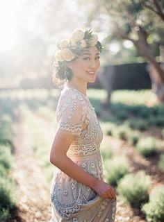Jen Huang Photo | Wedding at San Ysidro Ranch | Montecito | Santa Barbara | California | Olive Grove | Lavender Field | Anthropologie Wedding Dress | J.Crew Wedding Suit Navy