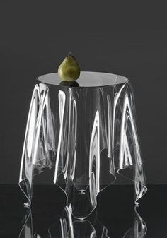 """Ghost table - Designed in 2005 by Danish designer John Brauer, """"Illusion"""" is a handmade side table of 3 mm acrylic. All Illusion tables are handmade, individual and unique. The design gives the impression of a table cloth on a round table. Coffee Table Design, Coffee Tables, French Bedside Tables, Modern Furniture, Furniture Design, Acrylic Furniture, Unusual Furniture, Mirrored Furniture, Art Furniture"""