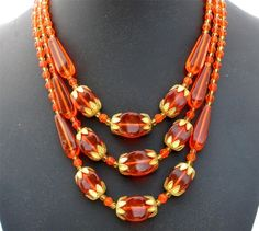 Art Deco Multi 3 Strand Orange Czech Glass Bead Art Deco Gilded Necklace | eBay