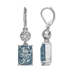 Dana Buchman Glitter Double Drop Earrings, Blue