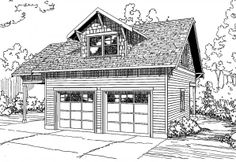 Garage w/Recreation Room - 20-111 - Garage Plan - Front Elevation