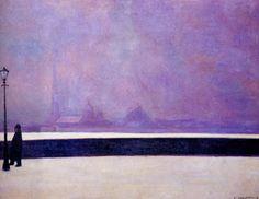Felix Vallotton (Swiss 1865-1925) The Night in Light Fog (1913)