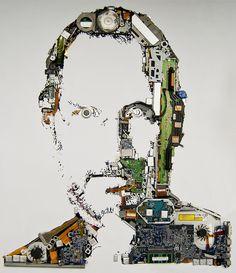 Een ode aan de onlangs overleden Steve Jobs gemaakt door Foundry. Ze ontmandelden een Macbook Pro om dit portret te maken.