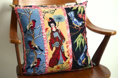 SALE handmade pillow / cushion with vintage  embroidery of a Japanese geisha and bird
