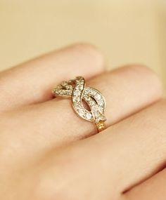 Gold & Diamond Bow Ring