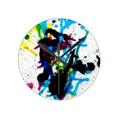 Colorful Paint Drips 9 Round Clock