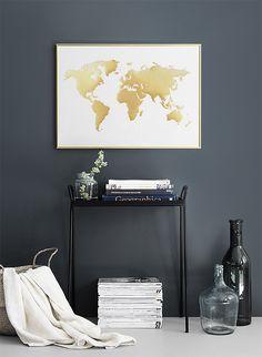 Weltkarte, Guld, poster