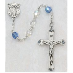 SS 7MM AB CRYSTAL/BLUE ROSARY