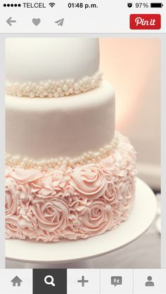 Blush And Gold Wedding Cake. Take a look at 12 amazing blush wedding cakes in the photos below and get ideas! Ideas and inspiration for using the Textured Wedding Cakes, Pretty Wedding Cakes, Pretty Cakes, Beautiful Cakes, Cake Wedding, Wedding Cake Pearls, Easy Wedding Cakes, Blush Pink Wedding Cake, White Wedding Cakes