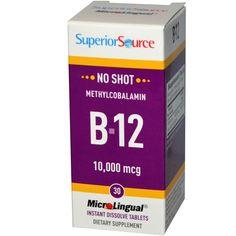 Superior Source, B-12, Methylcobalamin, 10,000 mcg, 30 MicroLingual Instant Dissolve Tablets
