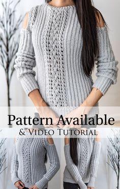 Crochet Hoodie, Crochet Blouse, Chunky Crochet, Crochet Yarn, Crochet Cable Stitch, Crochet Sweaters, Crochet Tops, Crochet Designs, Crochet Patterns