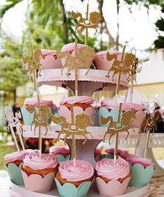 Gold Glitter Carousel Horse cupcake toppers, - Set of 12. Cake topper, birthday…