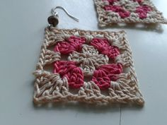 Handmade crochet earrings crochet squares cotton jewlery.
