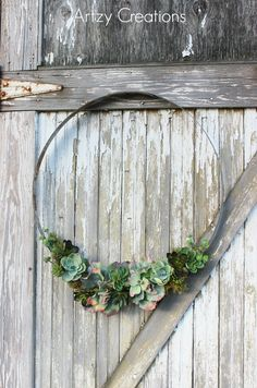 DIY-Wine-Barrell-Ring-Succulent-Wreath-Artzy Creations 8  HOW TO ON: http://www.madefrompinterest.net/wine-barrel-ring-succulent-wreath/ www.MadamPaloozaEmporium.com www.facebook.com/MadamPalooza