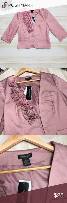 Blush Pink Blazer from Spense NWT Size L Blush pink Blazer from Spense NWT Size L  Roses detail Two front pockets and one small on top  Very elegant and trendy  Fabric is 98% cotton, 2% spandex  Lining is 100% acetate  I honestly think it runs one size small so it is more like a medium.  Chest is approximately 20 inches Spense Jackets & Coats Blazers