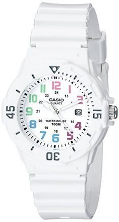 Made in USA and Imported All-white watch featuring bi-directoinal bezel and round dial with pastel-tone indices, small indices, and date window at 3 o'clock 33 mm resin case with mineral dial window Japanese quartz movement with analog display Casio Quartz, Sport Watches, Cool Watches, Women's Watches, Wrist Watches, Fashion Watches, Women's Fashion, Black Watches, White Fashion