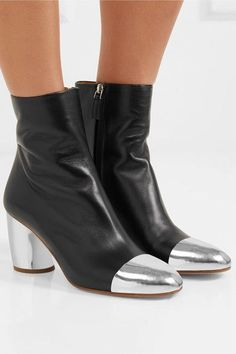 Proenza Schouler - Metallic-trimmed Leather Ankle Boots - Black