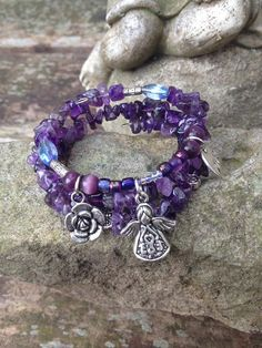 Angel Blessings: three wrap memory wire beaded bracelet on Etsy, $30.00