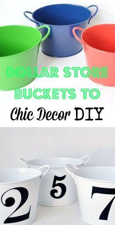 Dollar Store Buckets to Chic Decor DIY ~ Easy tutorial