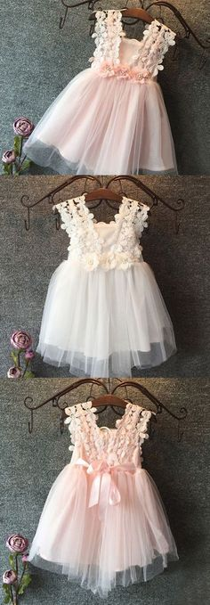 White lace top, V back, layered tulle tutu. Comes in white or pink. Your little girl will be the most adorable, stunning, cute flower girl at the wedding. Robes Tutu, Tulle Tutu, Tulle Skirts, Tutu Dresses, Pink Tulle, Little Girl Dresses, Flower Girl Dresses, Flower Girls, Baby Flower
