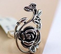 roses rattan ring rose ring retro silver plated ring