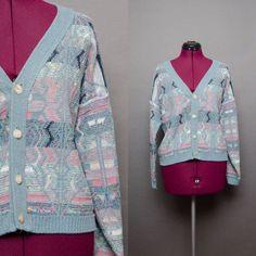 80s Cardigan 1980's Sweater Vintage Cardigan by HankAndGeorge