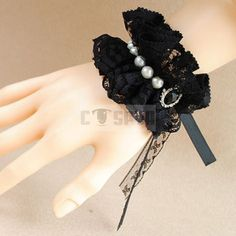 Handmade Black Lace Ruffles Gorgeous Princess Lolita with Pearl and Black Crystal