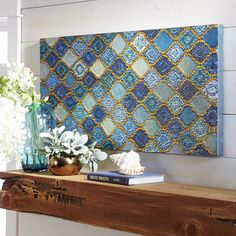 Be Inspired: I have one huge crowded art wall where a painting  won't work. A  mosaic is a great idea. One like this is too busy. I like muted colors and can design my own. Take a turn yourself and use pencils, crayons and paper to lay out your design.