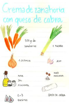 Gastro Andalusi ♥ Recetas paso a paso: Tomo 1 Nut Recipes, Recipies, Cooking Recipes, Healthy Recipes, Kinds Of Soup, Food Painting, Food Journal, Journal Ideas, Food Illustrations