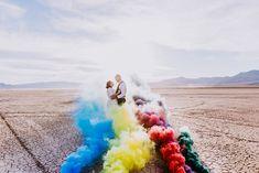 Eldorado Lake Bed elopement in Las Vegas   photo: Amberlight Collective #lasvegasweddings #elope #destinationwedding #smokebombwedding