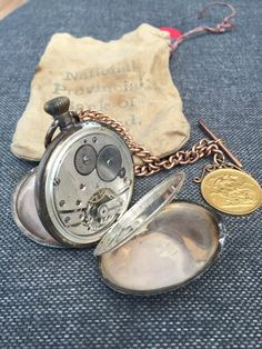 Silver pocket watch with gold 1887 coin on a hallmarked chain Pocket Watch, Buy And Sell, Watches, Chain, Silver, Gold, Accessories, Wristwatches, Necklaces