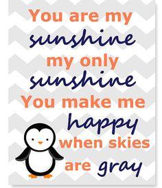 You Are My Sunshine Penguin Nursery Art by SweetPeaNurseryArt