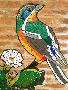 Bird on a tree - mosaic Mosaic Artwork, Mosaic Tile Art, Mosaic Diy, Mosaic Crafts, Mosaic Projects, Mosaic Glass, Mosaics, Mosaic Animals, Mosaic Birds