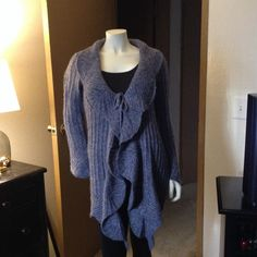 Acrylic/Wool sweater soft blue. Ruffle soft blue sweater very cute. Valerie Bertinelli Sweaters