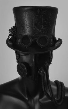 greyfaced:  Steampunk Leather Tophat,by:Valimaa