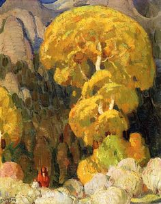 William Herbert Dunton (1878 – 1936) Cottonwood in the Indian Canyon Oil on panel, Private collection
