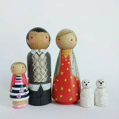 CUSTOM big peg family of 5 // Peg Pets // personalized peg dolls // modern doll house // custom family portrait // wooden toys
