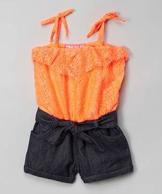 Another great find on #zulily! Neon Orange Floral Lace Romper - Infant, Toddler & Girls #zulilyfinds