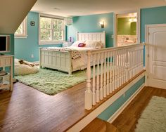 Love the idea of two rooms in one with a level change - Love the color and the white and green accents! My room!