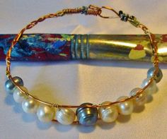 Bracelet wrap perles d'eau douce cuivre et laiton - 30 € - par Patynett design