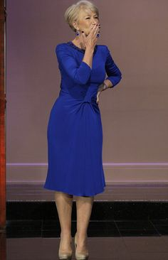 Royal blue for The Queen:The actress in regal attire for an interview with the chat show host