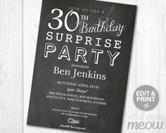 30th birthday surprise party gold black mens 30th birthday party 7 x 5 inch instant download customizable 30th birthday pdf invite edit the text filmwisefo