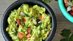 No cilantro and 1 tomato not Cilantro and cayenne give this classic guacamole a tasty kick. Serve it smooth or chunky. Mexican Food Recipes, Vegan Recipes, Cooking Recipes, Original Recipe, Appetizer Recipes, Party Appetizers, Party Recipes, The Best, Healthy Snacks