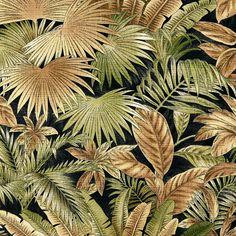 Rainforest Black and Brown Beach Print Upholstery Fabric