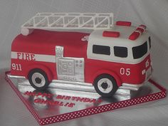 Fire Truck I made this for my son's birthday. I used a toy fire truck and some pictures from the internet for inspiration. Firefighter Birthday Cakes, Truck Birthday Cakes, Fireman Birthday, Fireman Party, 5th Birthday, Fire Engine Cake, Fire Cake, Fire Truck Cakes, Fireman Sam Cake