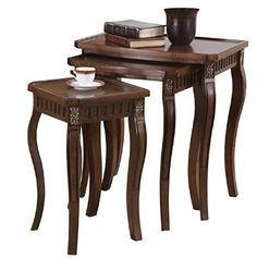 3-piece Curved Leg Nesting Tables Warm Brown, cafe table Wood Nesting Tables, Wooden Tables, Winsome Wood, Thing 1, Scandinavian Living, Living Room Furniture, Brown Furniture, House Furniture, Wooden Furniture