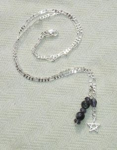 Sterling Silver Pentagram Gemstone Necklace - Genuine Iolite and Blue Kyanite